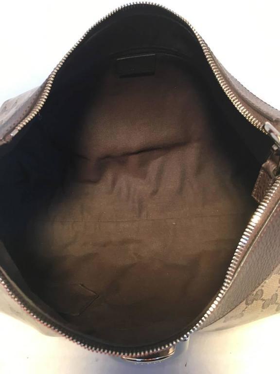 Women's GUCCI Coated Monogram Canvas Saddle Buckle Shoulder Bag For Sale