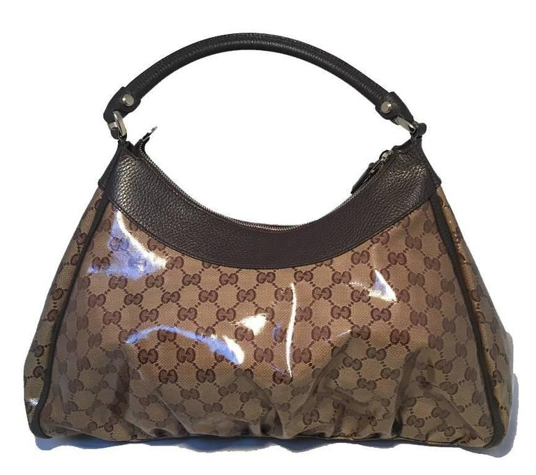 GUCCI Coated Monogram Canvas Saddle Buckle Shoulder Bag 2