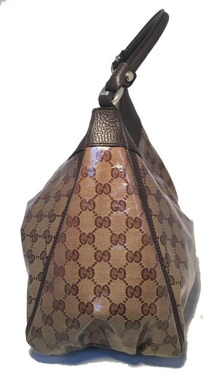 Gucci Coated Monogram Canvas Saddle Buckle Shoulder Bag
