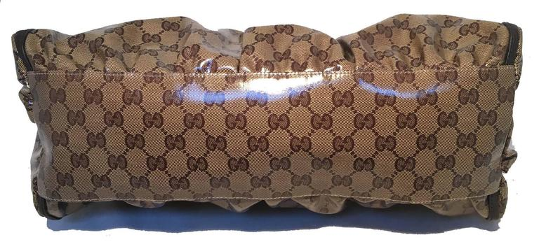 GUCCI Coated Monogram Canvas Saddle Buckle Shoulder Bag In Excellent Condition For Sale In Philadelphia, PA