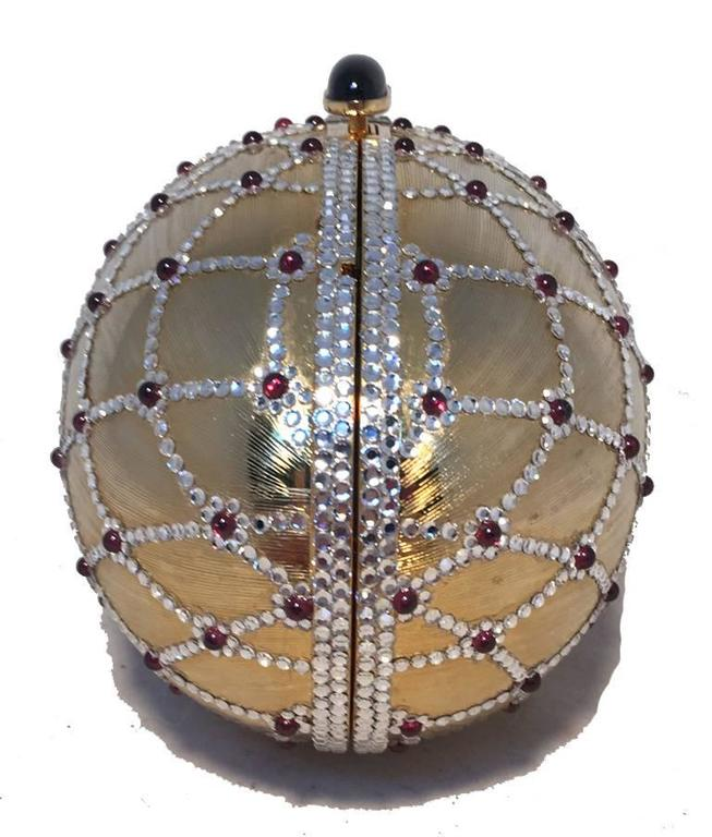 Judith Leiber Swarovski Crystal Gold Egg Minaudiere In Excellent Condition For Sale In Philadelphia, PA