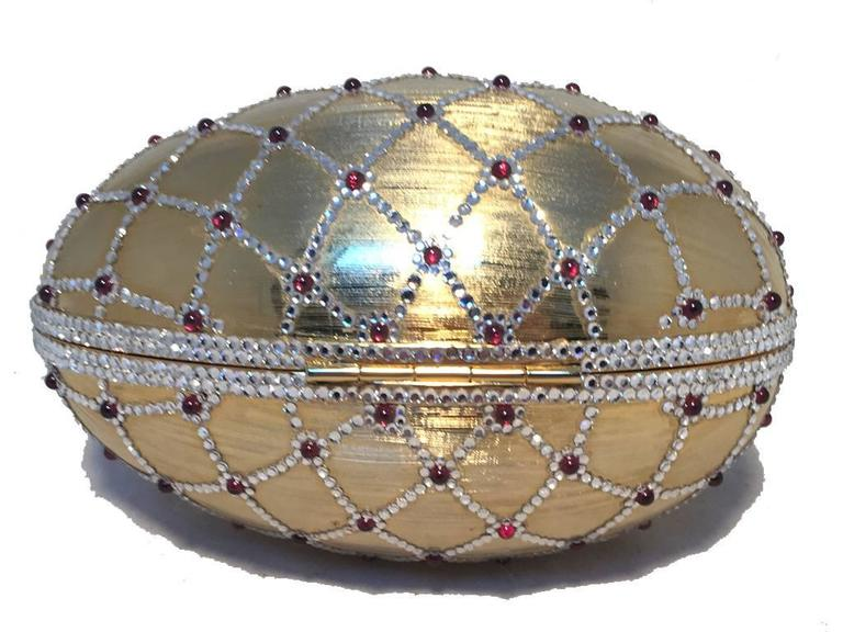 Women's Judith Leiber Swarovski Crystal Gold Egg Minaudiere For Sale