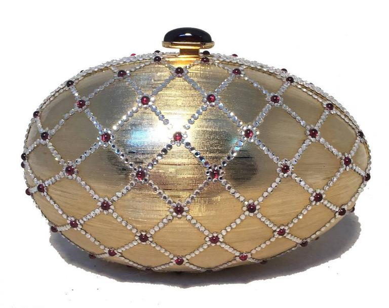 Brown Judith Leiber Swarovski Crystal Gold Egg Minaudiere For Sale