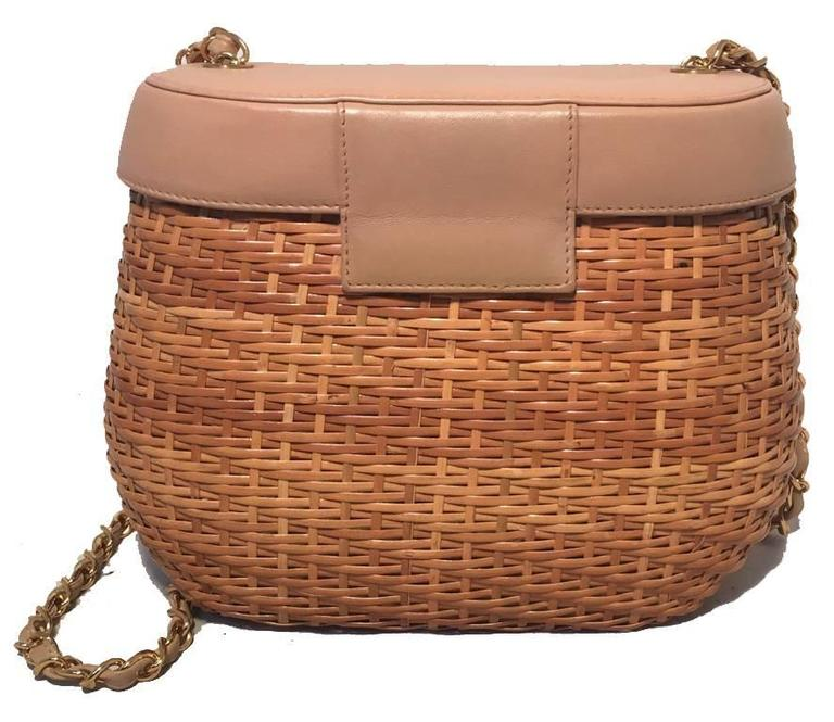 Chanel Tan Rattan and Leather Basket Shoulder Bag 2
