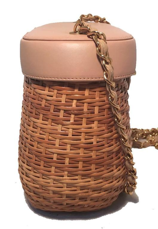 Chanel Tan Rattan and Leather Basket Shoulder Bag 3