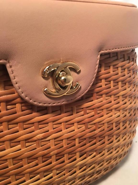 Chanel Tan Rattan and Leather Basket Shoulder Bag 5