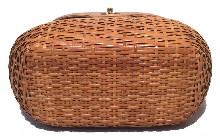 Chanel Tan Rattan and Leather Basket Shoulder Bag 4