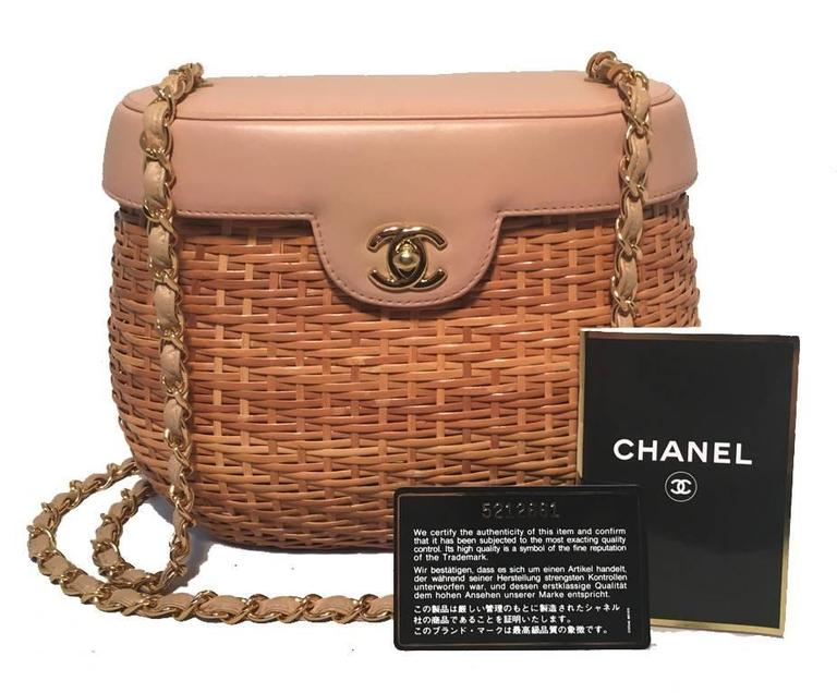 Chanel Tan Rattan and Leather Basket Shoulder Bag 10