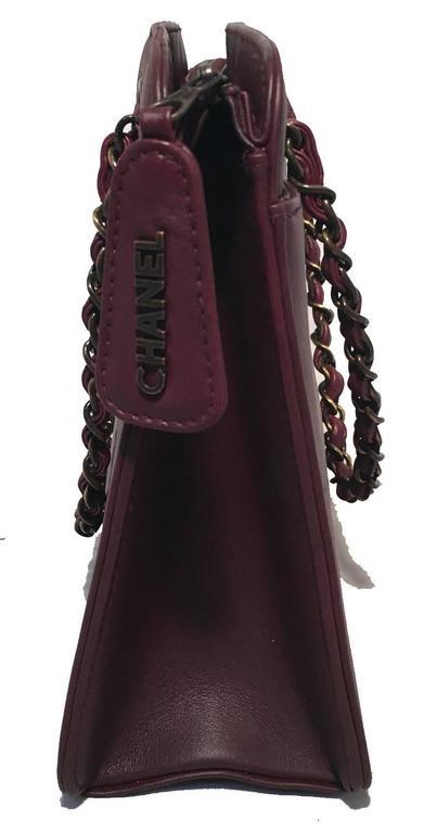 Black Chanel Maroon Leather Handbag  For Sale