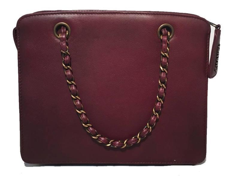 Chanel Maroon Leather Handbag  2
