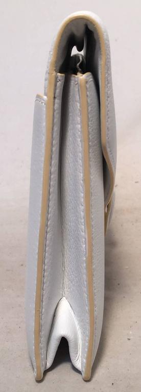 Gray RARE Hermes Vintage White Leather Clutch  For Sale