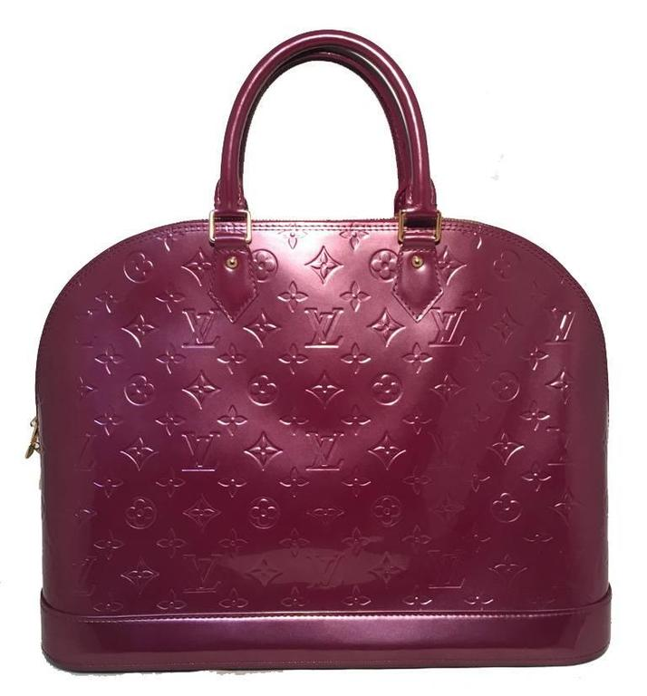 Stunning Louis Vuitton Purple Vernis Monogram Alma Bag In Excellent Condition Beautiful Leather