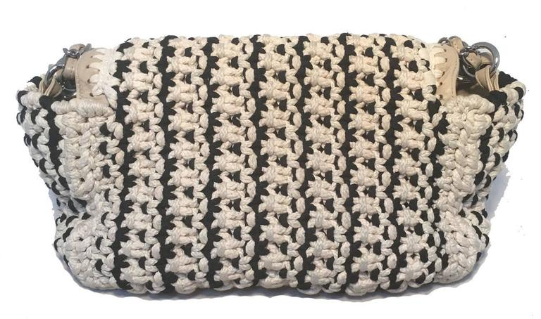 Limited Edition Chanel Black and White Woven Rope Classic Flap Shoulder Bag In Excellent Condition For Sale In Philadelphia, PA