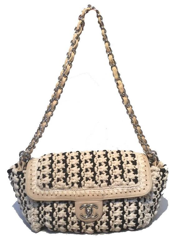 Women's Limited Edition Chanel Black and White Woven Rope Classic Flap Shoulder Bag For Sale