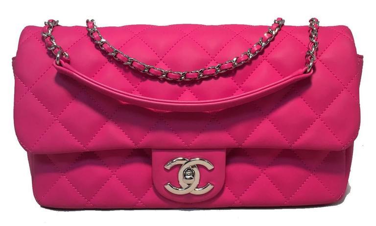 Chanel Pink Rubber Raincoat Classic Flap Shoulder Bag For