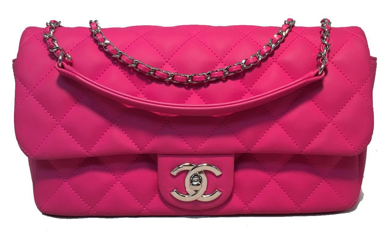 b5f631ce00f4 Chanel Pink Rubber Raincoat Classic Flap Shoulder Bag For Sale at 1stdibs