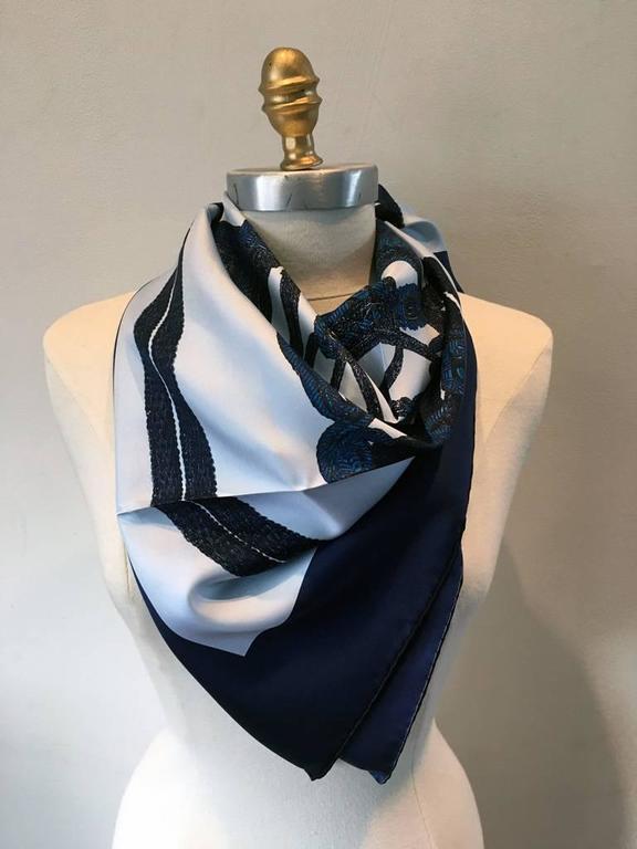 Hermes New Brides de Gala Brodé Main Blue Silk Scarf 2