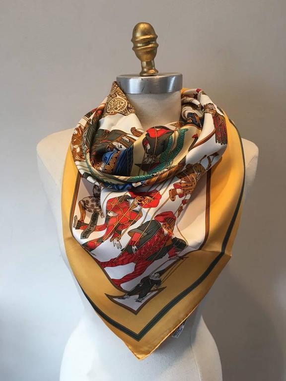 Hermes Vintage Le Temps des Marionnettes Silk Scarf in Golden Yellow 6