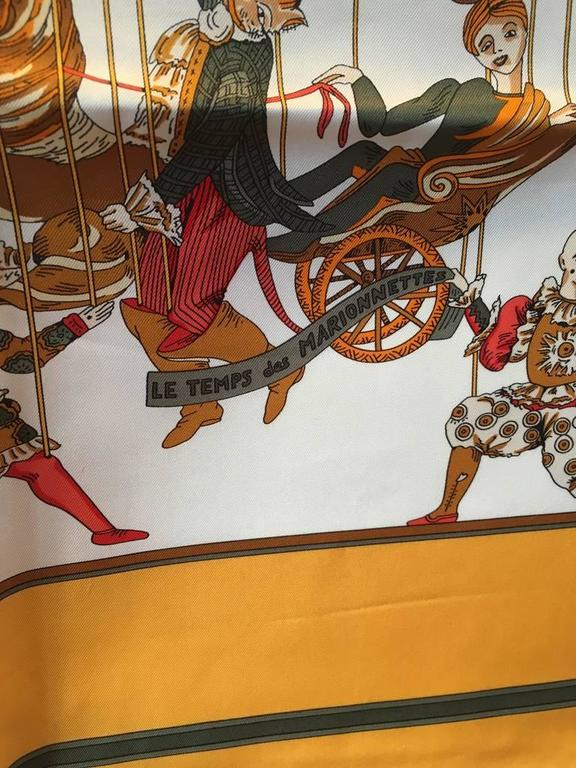 Hermes Vintage Le Temps des Marionnettes Silk Scarf in Golden Yellow 2