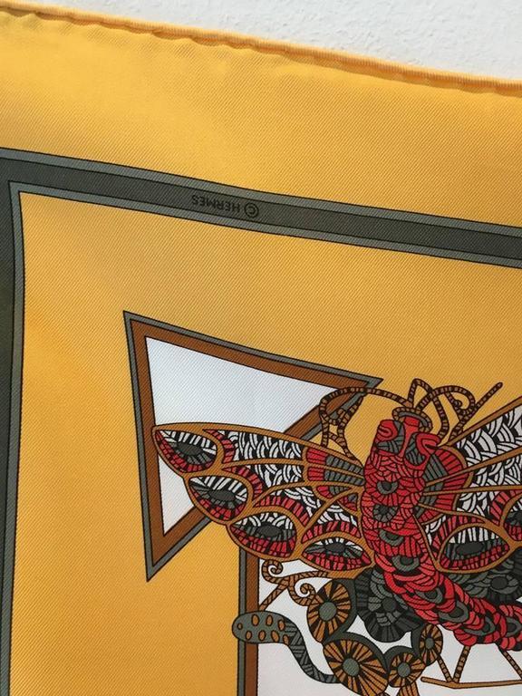 Hermes Vintage Le Temps des Marionnettes Silk Scarf in Golden Yellow 5
