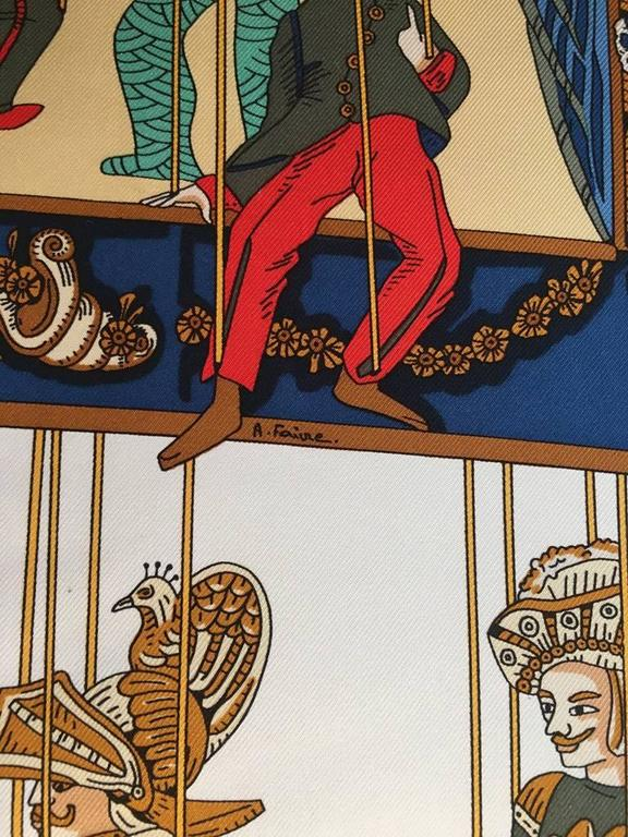 Hermes Vintage Le Temps des Marionnettes Silk Scarf in Golden Yellow 4