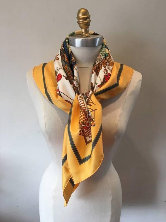 Hermes Vintage Le Temps des Marionnettes Silk Scarf in Golden Yellow 7