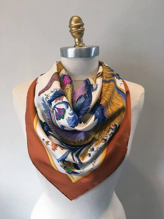 Brown Hermes Vintage Cerés Silk Scarf c1960s For Sale