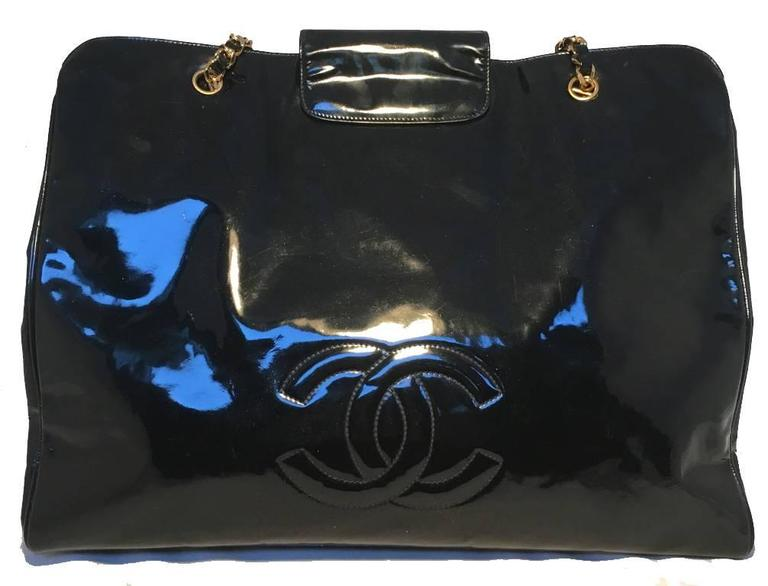 Chanel Black Patent Leather Model Overnighter Tote In Excellent Condition For Sale In Philadelphia, PA