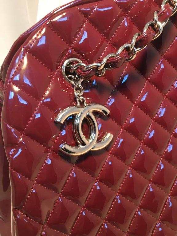 Chanel Quilted Maroon Patent Leather Shoulder Bag Tote 8