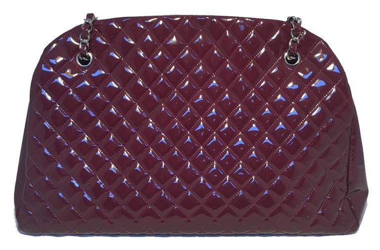 Chanel Quilted Maroon Patent Leather Shoulder Bag Tote 3