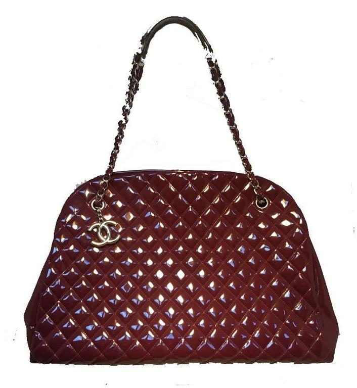 Chanel Quilted Maroon Patent Leather Shoulder Bag Tote 2