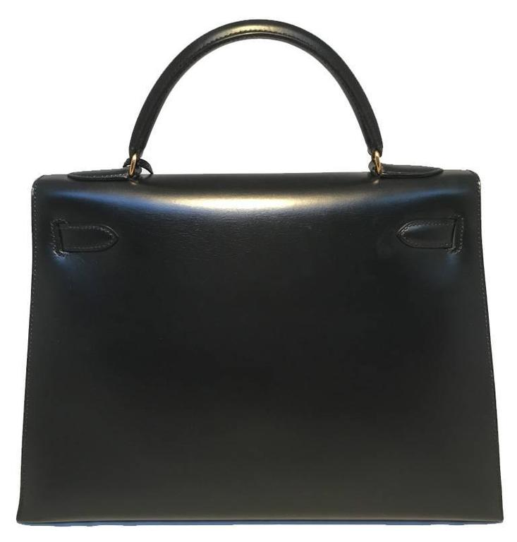 Hermes Vintage Black Box Calf 32cm Kelly Bag In Good Condition For Sale In Philadelphia, PA