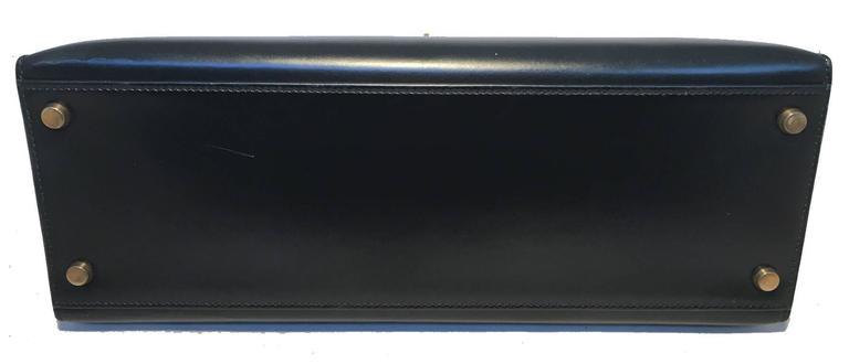Hermes Vintage Black Box Calf 32cm Kelly Bag For Sale 1