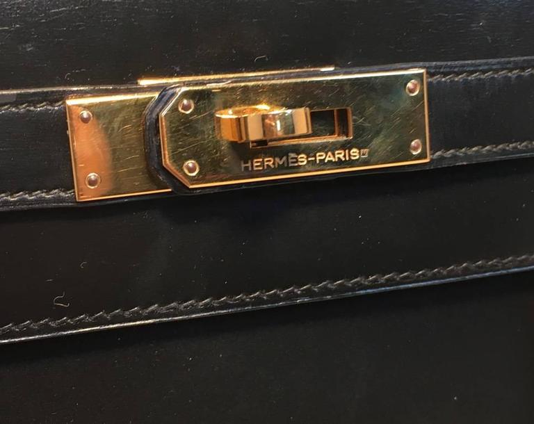 Hermes Vintage Black Box Calf 32cm Kelly Bag For Sale 3