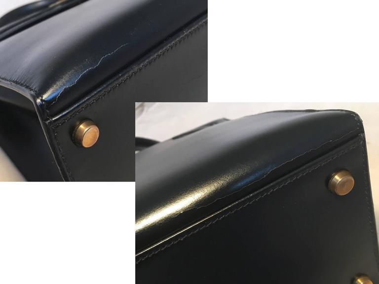 Hermes Vintage Black Box Calf 32cm Kelly Bag For Sale 7