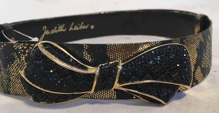 Judith Leiber Black and Gold Swarovski Bow Adjustable Belt  For Sale 1