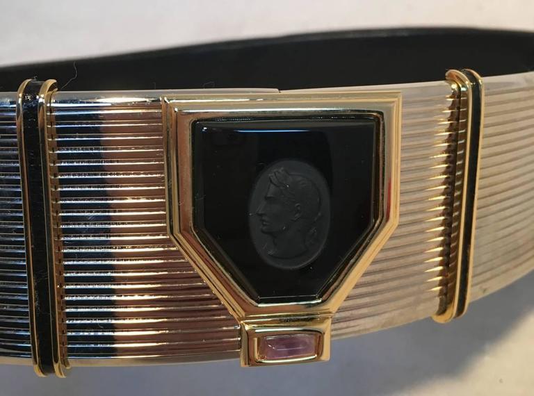 Judith Leiber Vintage Black Lizard Cameo Adjustable Belt 5
