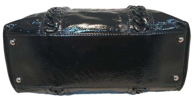 Women's Chanel Black Distressed Patent Leather Shoulder Tote Bag For Sale