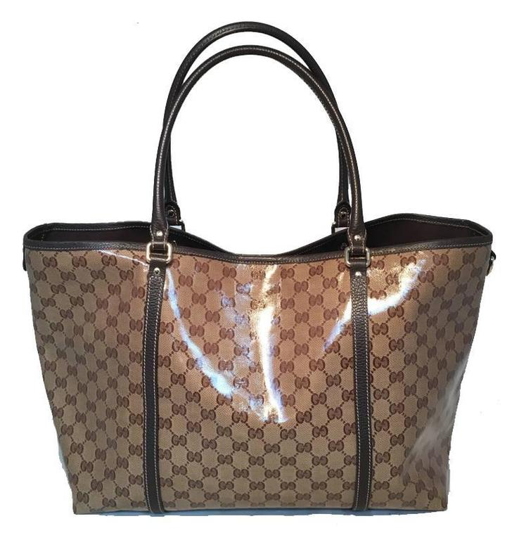 Gucci Coated Monogram Canvas Shopping Bag Tote For Sale at ...