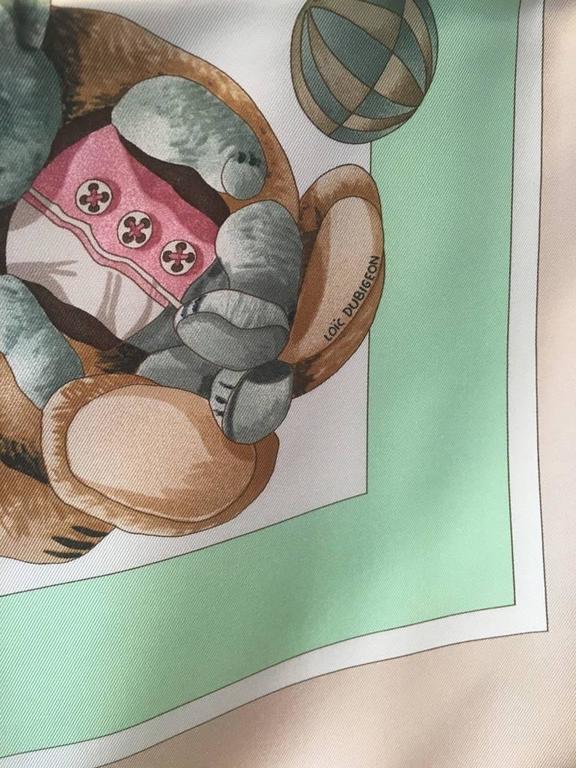 Hermes Teddy Bear Confidents des Coeurs Silk Scarf  4