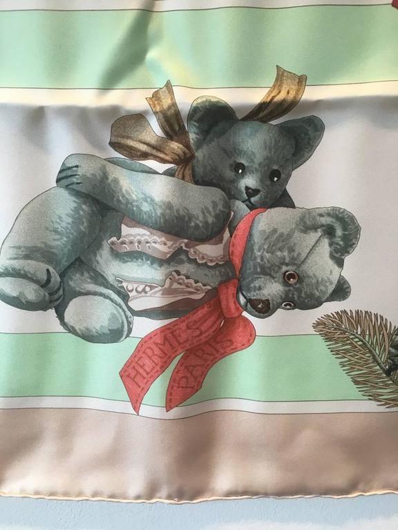 Hermes Teddy Bear Confidents des Coeurs Silk Scarf  6