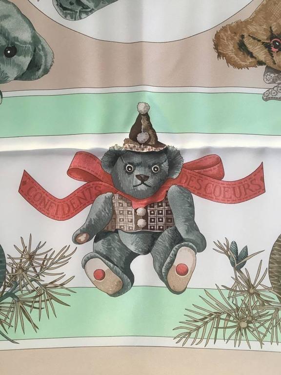Hermes Teddy Bear Confidents des Coeurs Silk Scarf  8