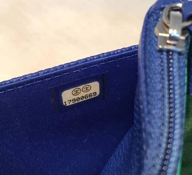 RARE Chanel Blue Caviar Leather Wallet on a Chain WOC 5
