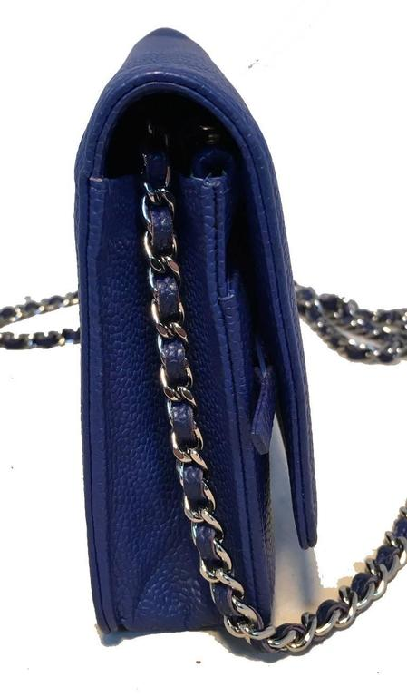 RARE Chanel Blue Caviar Leather Wallet on a Chain WOC 3