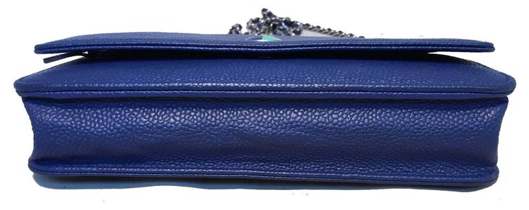 RARE Chanel Blue Caviar Leather Wallet on a Chain WOC 4
