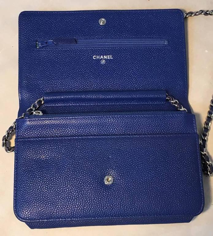 RARE Chanel Blue Caviar Leather Wallet on a Chain WOC 7