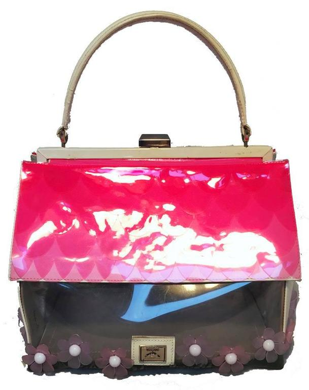 Pink Vintage RARE Moschino Patent Leather House Handbag  For Sale