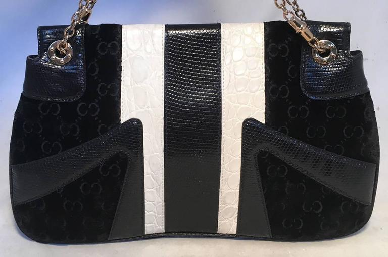 ffb9bdef1cec ... Croc and Lizard Flap Bag For Sale. GORGEOUS GUCCI by Tom Ford jeweled  dragon shoulder bag in excellent condition. Black embossed velvet