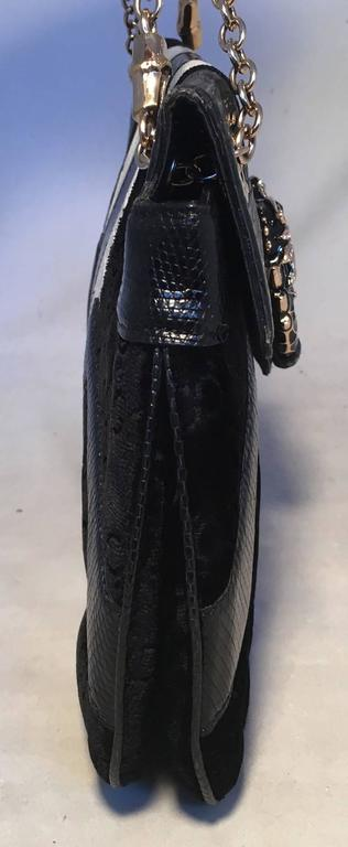 646d345ceed8 RARE Gucci by Tom Ford Jeweled Dragon Black Velvet Croc and Lizard Flap Bag  In Excellent
