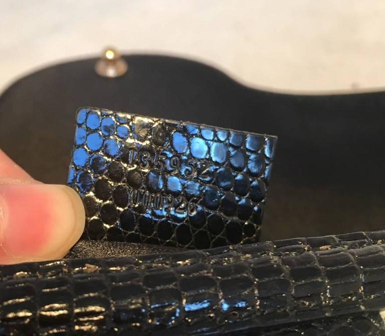 95c0bc6f9837 RARE Gucci by Tom Ford Jeweled Dragon Black Velvet Croc and Lizard Flap Bag  For Sale